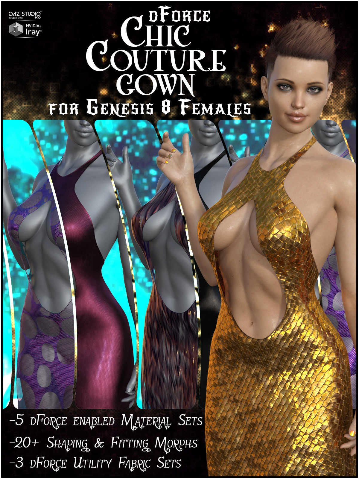 dForce Chic Couture Gown for Genesis 8 Females by SWTrium