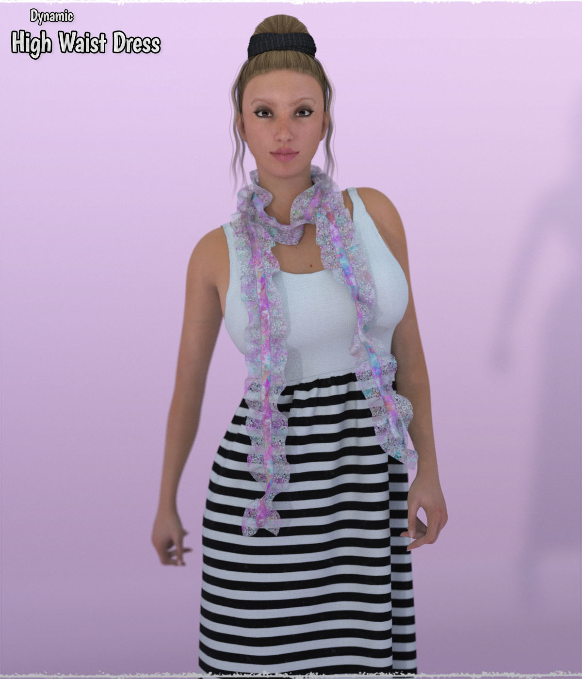 Dynamic High Waist Dress with Shawl La Femme and V4 by ShaaraMuse3D