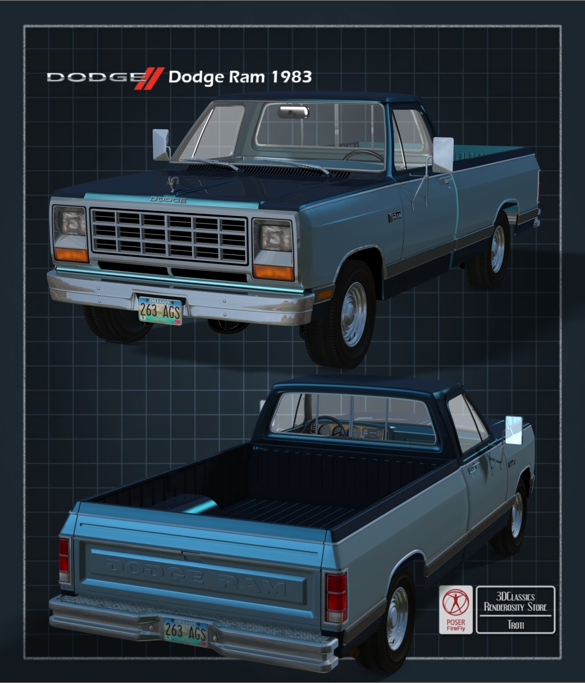 DODGE RAM 1983 EXTENDED LICENSE OBJ and FBX by 3DClassics