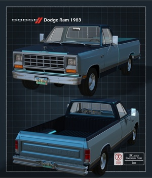 DODGE RAM 1983 EXTENDED LICENSE OBJ and FBX 3D Game Models : OBJ : FBX 3D Models Extended Licenses 3DClassics