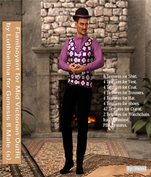Flamboyant for Mid Victorian Male for Genesis 8 Males 3D Figure Assets nelmi
