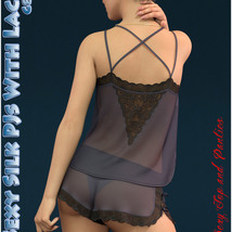 dForce Sexy Silk PJs With Lace for Genesis 8 Female image 1