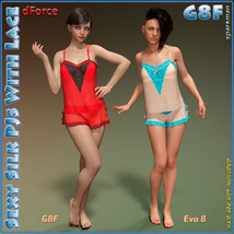 dForce Sexy Silk PJs With Lace for Genesis 8 Female image 7