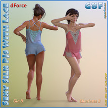 dForce Sexy Silk PJs With Lace for Genesis 8 Female image 8
