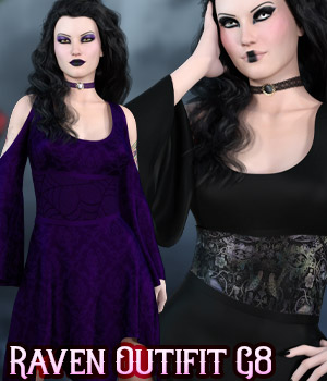 dforce - Raven Dress - Genesis 8 3D Figure Assets kaleya