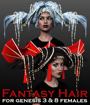 Fantasy Hair for G3 females and G8 females 3D Figure Assets powerage