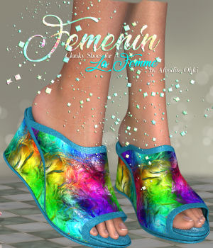 DA-Femenin for Clonky Shoes  for La Femme 3D Figure Assets La Femme Pro - Female Poser Figure DarkAngelGrafics