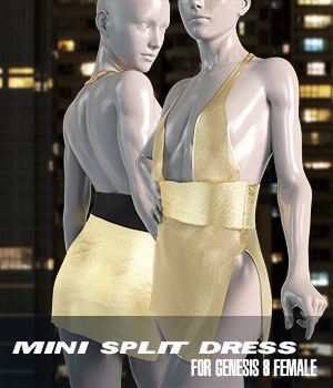 dForce Mini Split Dress for Genesis 8 Female 3D Figure Assets Imaginary3D