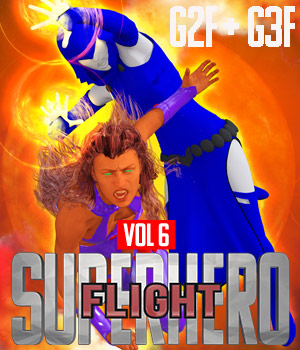 SuperHero Flight for G2F and G3F Volume 6 3D Figure Assets GriffinFX