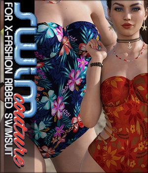 SWIM Couture for X-Fashion Ribbed Swimsuit 3D Figure Assets Sveva
