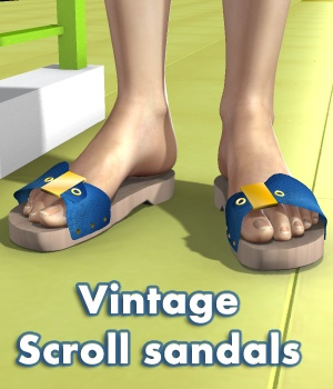 Vintage Scroll Sandals 3D Figure Assets greenpots