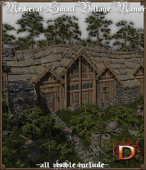 Medieval Small Village Manor 3D Models Dante78