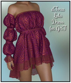 dForce - Lola Dress for G8F 3D Figure Assets Lully