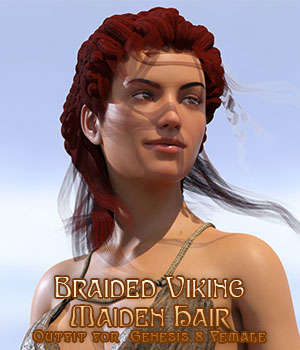 Braided Viking Hair for G8F 3D Figure Assets sixus1
