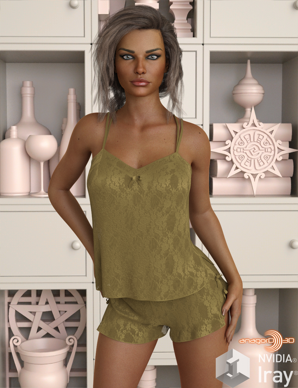 VERSUS - dForce Sexy Silk PJs With Lace for Genesis 8 Female
