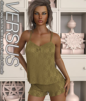 VERSUS - dForce Sexy Silk PJs With Lace for Genesis 8 Female 3D Figure Assets Anagord
