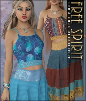 Free Spirit for dForce Boho Outfit 3D Figure Assets Sveva