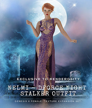 NELMI-dForce Night Stalker Textures for Genesis 8 Females 3D Figure Assets nelmi