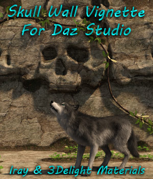 Skull Wall Vignette For Daz Studio Iray and 3Delight 3D Models fictionalbookshelf