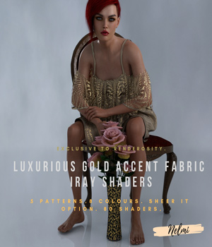 Luxurious Gold Accent Fabric Iray Shaders 3D Figure Assets Merchant Resources nelmi