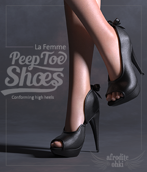 PeepToe Shoes for La Femme 3D Figure Assets La Femme Pro - Female Poser Figure Afrodite-Ohki