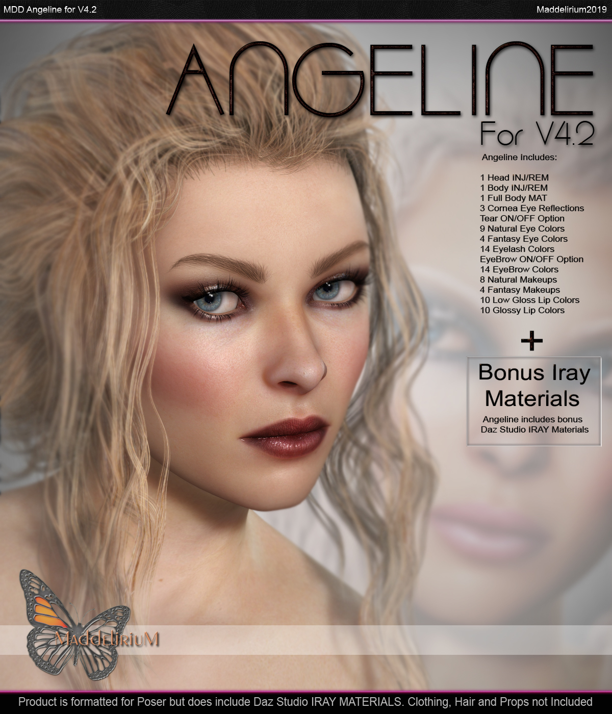 MDD Angeline For V4.2 + Bonus IRAY Materials by Maddelirium