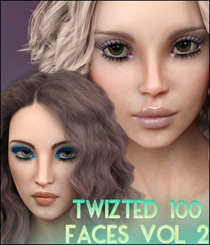 Twizted 100 Faces Volume 2 for Genesis 8 Female 3D Figure Assets TwiztedMetal