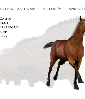 Animations for Millennium Horse - Poser and Daz Studio 3D Figure Assets anniemation