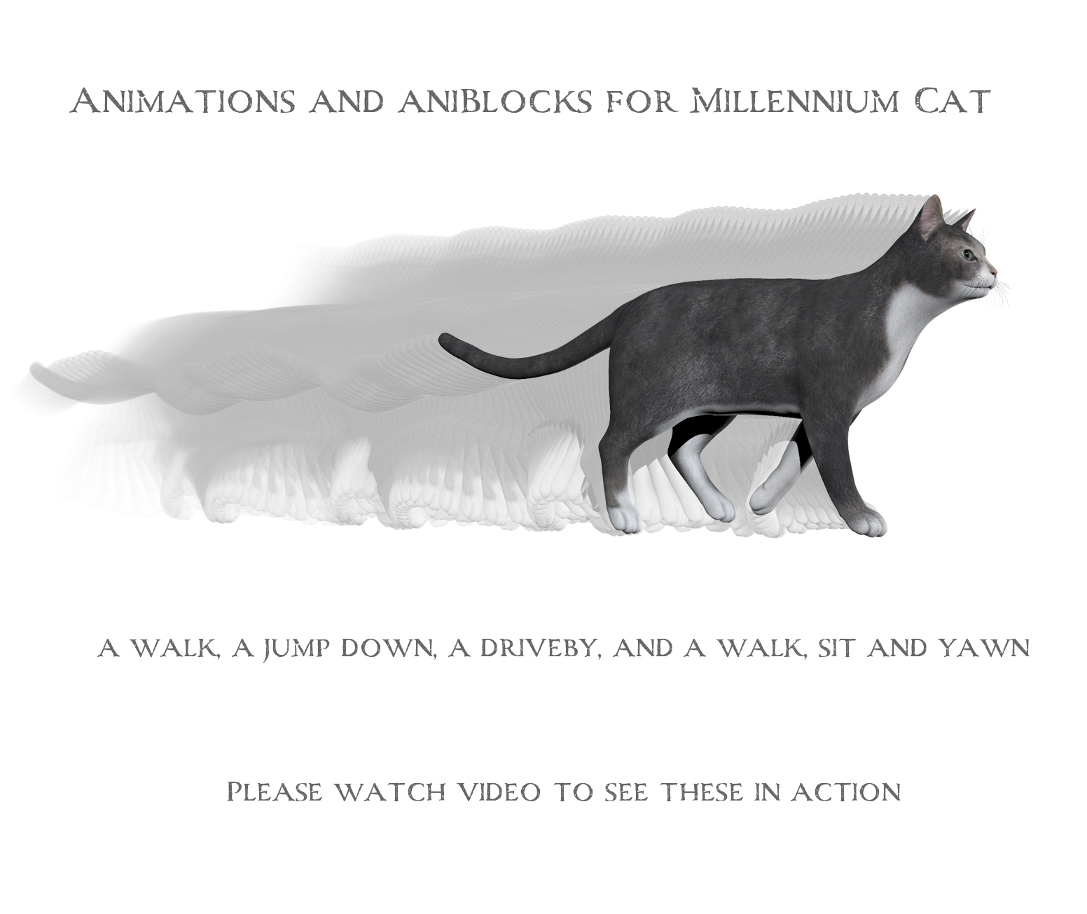 Animations for Millennium Cat - Poser and Daz Studio by anniemation