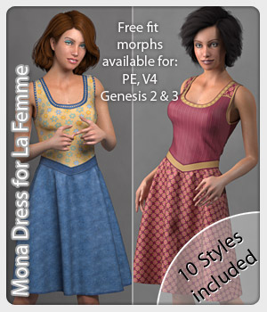 Mona Dress and 10 Styles for La Femme 3D Figure Assets La Femme Female Poser Figure karanta