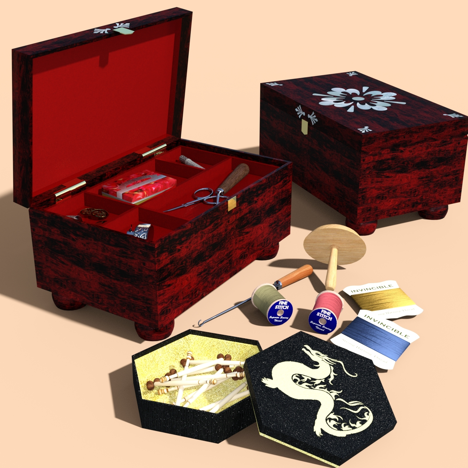 Victorian Sewing Boxes And Accessories For Daz Studio Iray