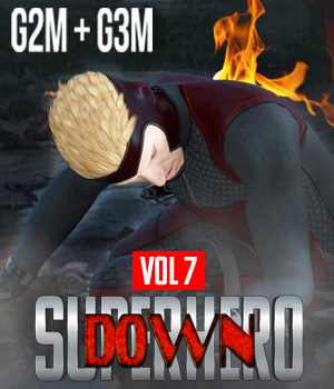 SuperHero Down for G2M and G3M Volume 7 3D Figure Assets GriffinFX