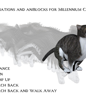 Animations and aniBlocks for Millennium Cat 2 3D Figure Assets anniemation
