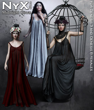 NyX dForce Midnight Gown 3D Figure Assets RPublishing