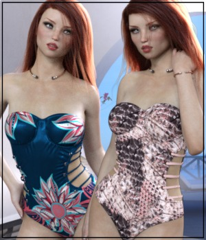 Sirens: X-Fashion Ribbed Swimsuit 3D Figure Assets 3-DArena