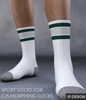 Sport Socks Add On for CJ Morphing Socks for Genesis 8 and 3 3D Figure Assets SF-Design