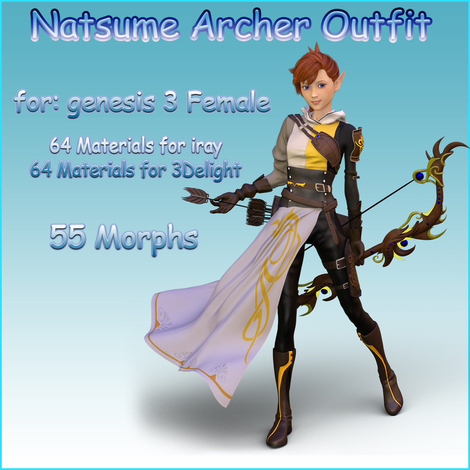 Natsume Archer Outfit for G3F - Extended License