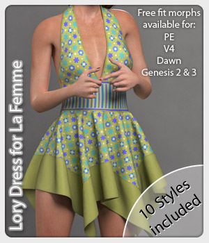 Lory Dress & 10 Styles for La Femme 3D Figure Assets La Femme Female Poser Figure karanta