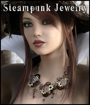 Steampunk Jewelry for G3/G8, LaFemme and V4 3D Figure Assets La Femme Female Poser Figure RPublishing
