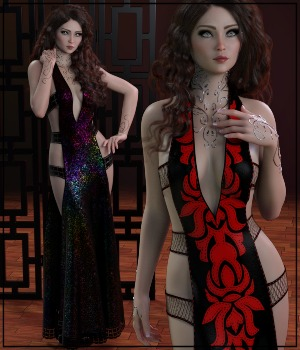 7th Ave: dforce - Chantress Gown for G8F 3D Figure Assets 3-DArena