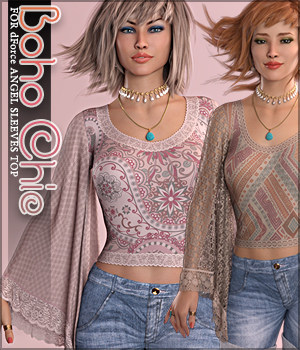 Boho Chic for dForce Angel Sleeves Top G8F 3D Figure Assets Sveva