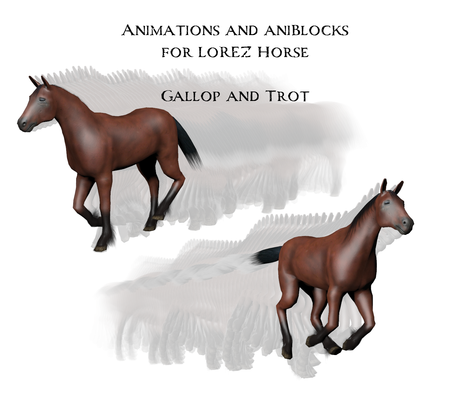 Animations and aniBlocks for LoRez Horse by anniemation