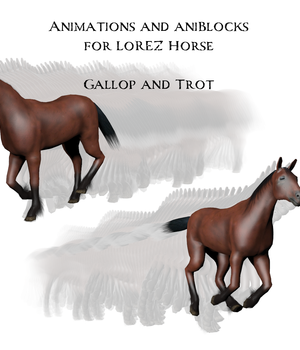 Animations and aniBlocks for LoRez Horse 3D Figure Assets anniemation