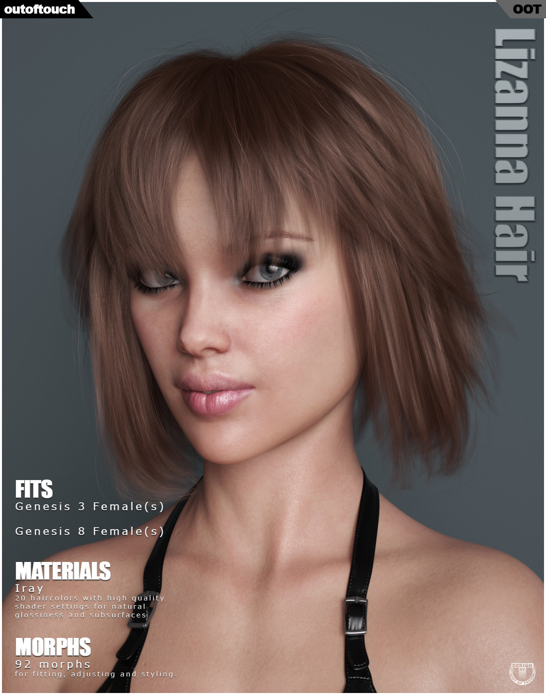 Lizanna Hair for Genesis 3 and 8 Females