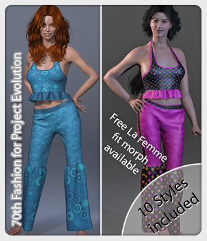 70th Fashion and 10 Styles for Project Evolution 3D Figure Assets karanta