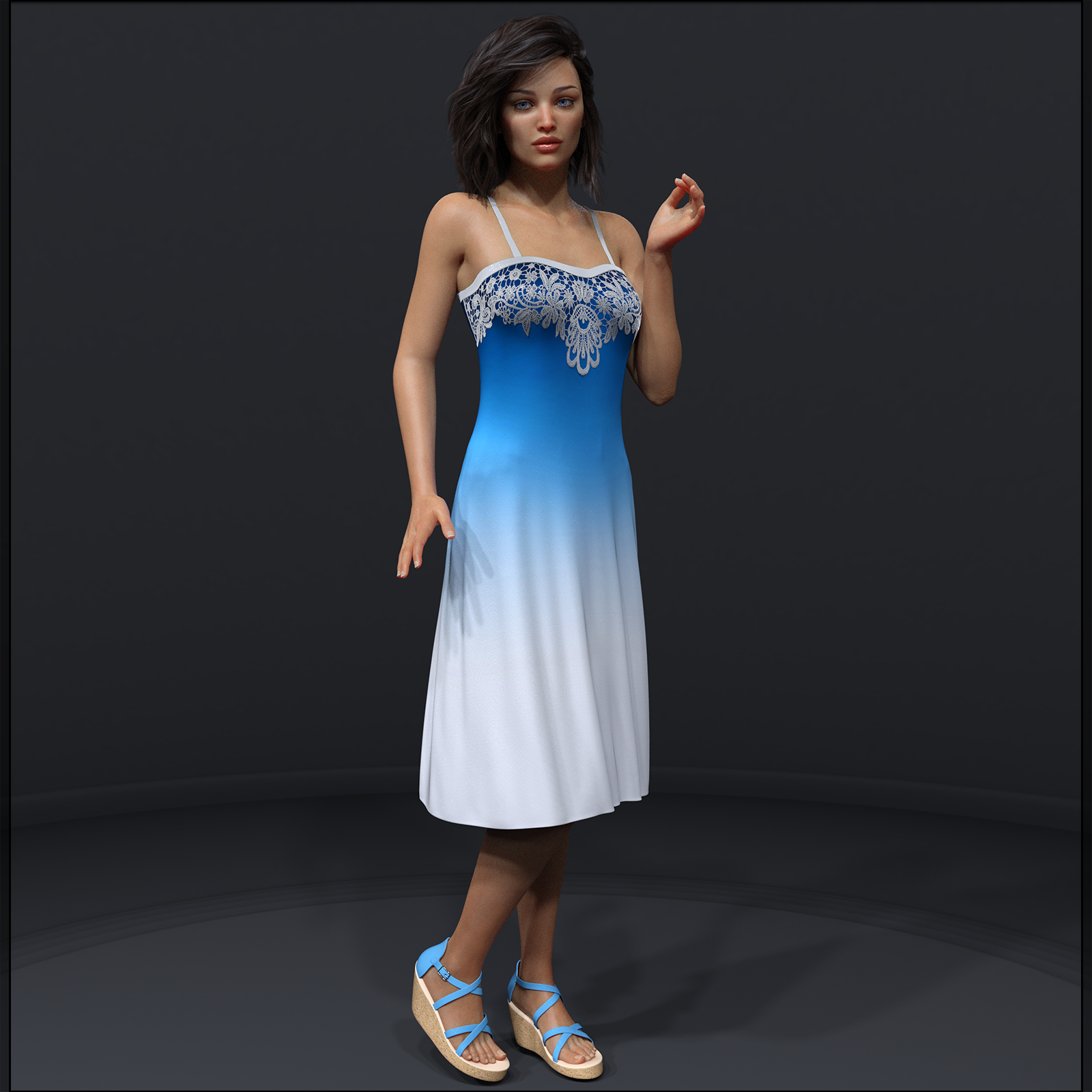 Ombre Fashion dForce Dress for Genesis 8 Females