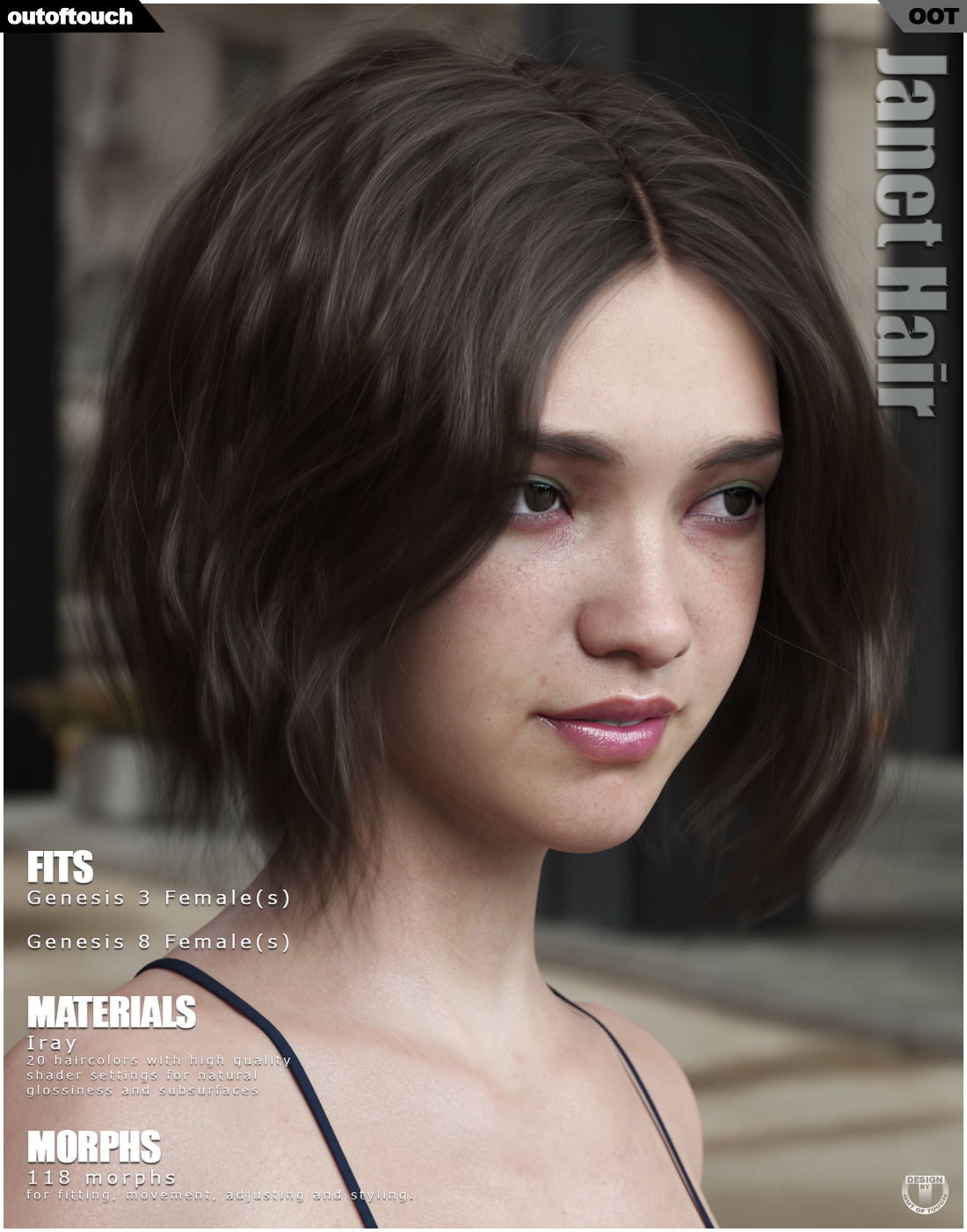 Janet Hair for Genesis 3 and 8 Females by outoftouch