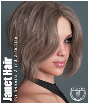 Janet Hair for Genesis 3 and 8 Females 3D Figure Assets outoftouch