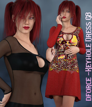 dforce - Keyhole Dress - Genesis 8 3D Figure Assets kaleya
