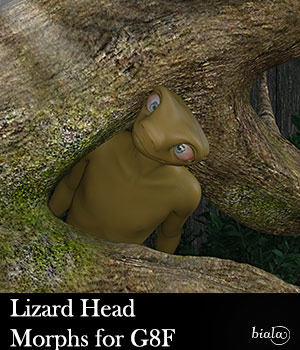 Lizard Head Morphs for G8F 3D Figure Assets biala